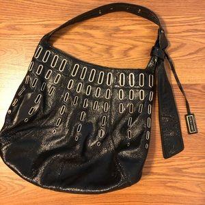Jimmy Choo black crinkle patent leather handbag